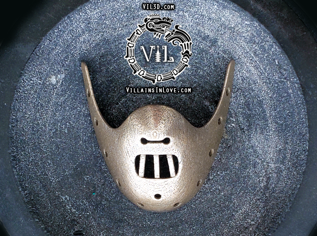 HANNIBAL Mask Pendant ⛧VIL⛧ in Polished Bronzed-Silver Steel: Small