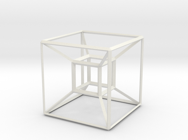 Basic Hypercube in White Natural Versatile Plastic