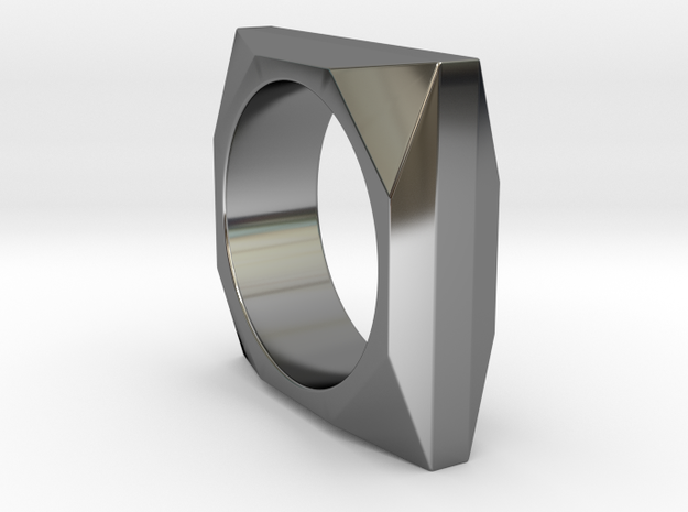 Square to Octagon Ring in Fine Detail Polished Silver: 8 / 56.75