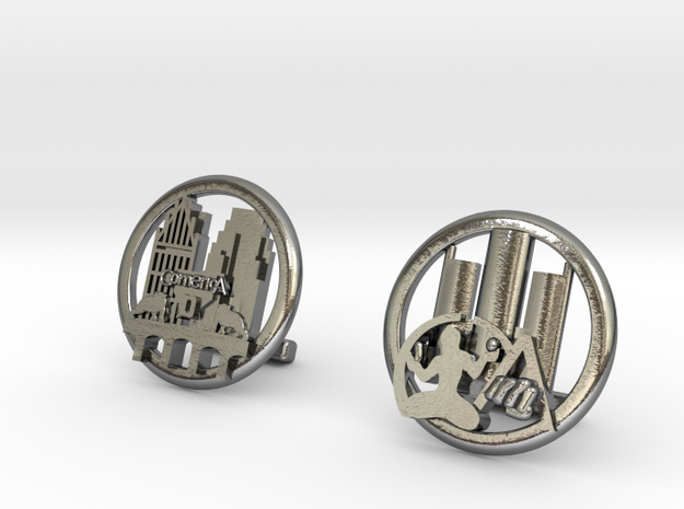 Detroit Cufflinks in Polished Silver