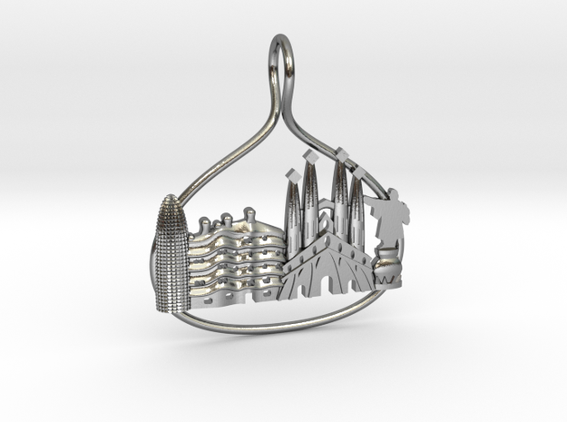 Barcelona Cityscape Skyline Pendant in Polished Silver