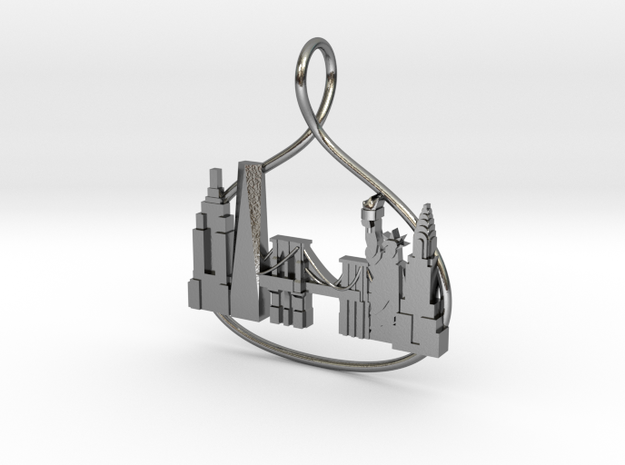 New York Cityscape Skyline Pendant in Polished Silver