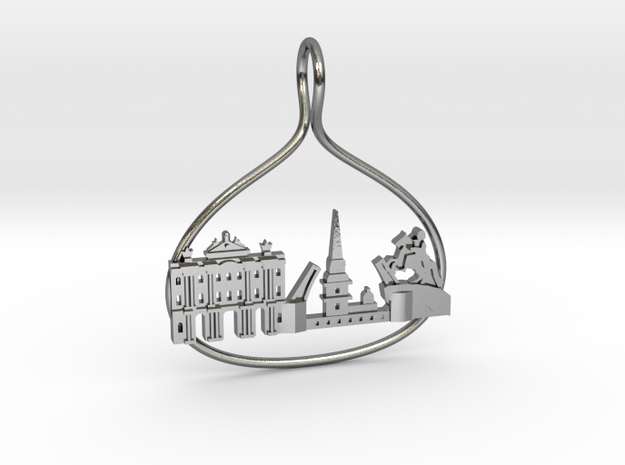 Sankt Petersburg Cityscape Skyline Pendant in Polished Silver