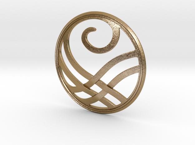 Threadbender Medallion in Polished Gold Steel: Medium