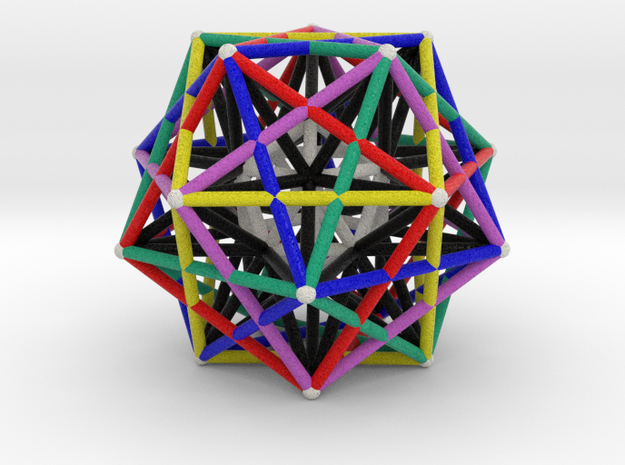 Icosahedron inside Starcage  in Natural Full Color Sandstone