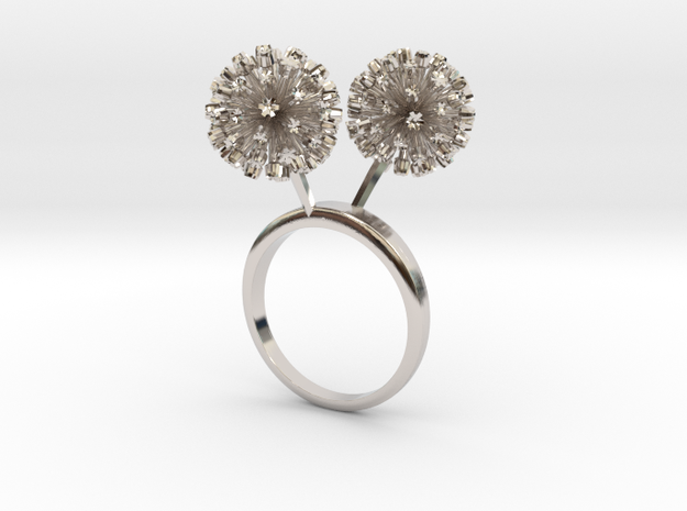 Garlic ring with two small flowers L in Rhodium Plated Brass: 7.25 / 54.625