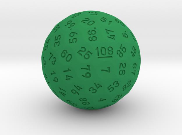 "d108 Sphere Dice ""Catrine"" in Green Processed Versatile Plastic"