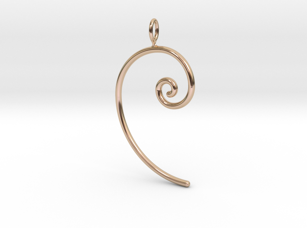 Fibonacci spiral, according to the golden ratio in 14k Rose Gold
