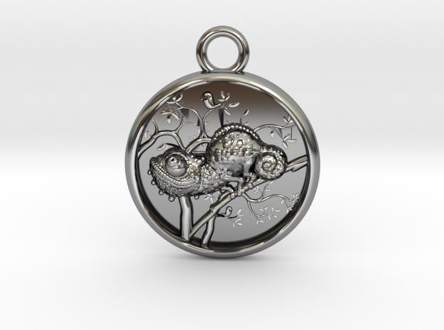 Chameleon-Medaillon2 in Antique Silver