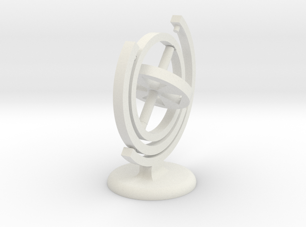 Gyroscope with a stand (in white) in White Natural Versatile Plastic