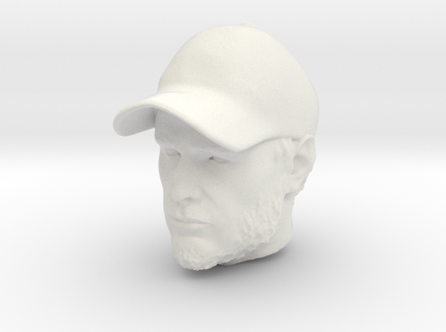 1:14 Head for Tamiya truck driver figure in White Natural Versatile Plastic