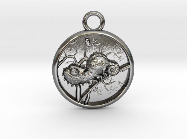 Chameleon-Medaillon3-mirrow in Polished Silver