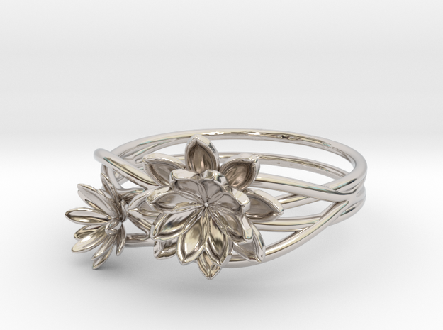 Lotus lily Ring Size 8--18.2mm in Platinum