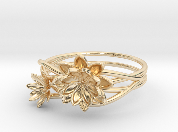 Lotus lily Ring Size 8--18.2mm in 14K Yellow Gold