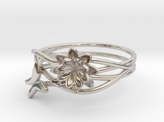 Lotus Butterfly Ring Size 8--18.2mm in Platinum