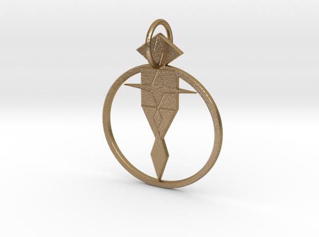 Geom Angel Guardian in Polished Gold Steel: Medium