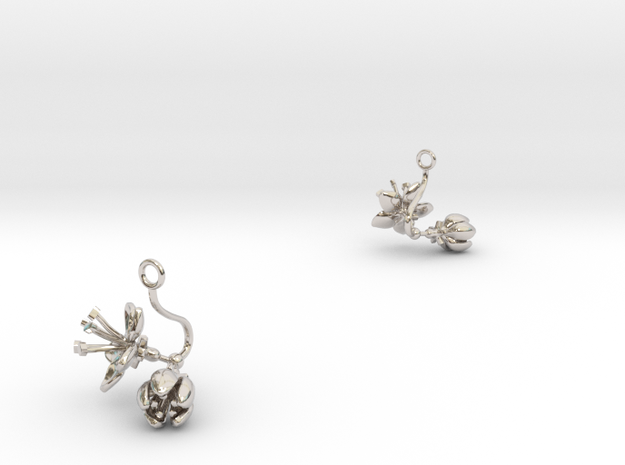 Apple earring with two small flowers in Rhodium Plated Brass