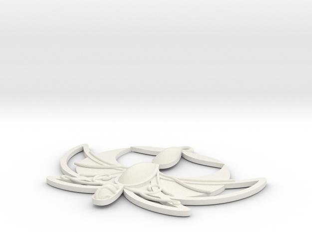 X-Small Tutu Pendant in White Natural Versatile Plastic