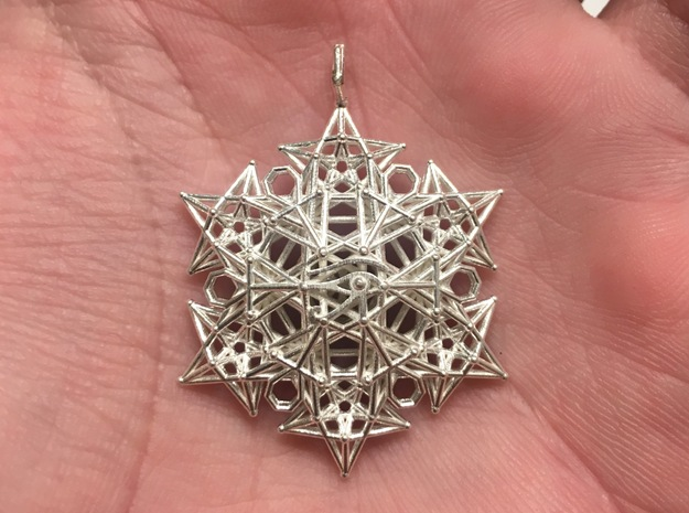 Mysteries of Egypt Sacred geometry pendant in Natural Silver