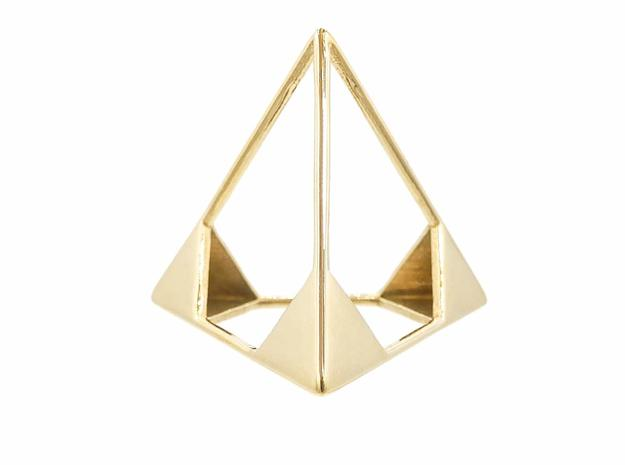 Tetrahedron Pendant in Polished Brass: Small