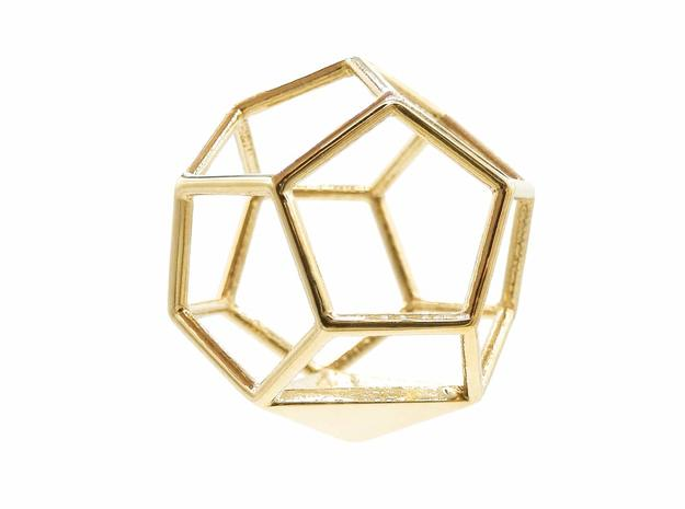 Dodecahedron Pendant in Polished Brass