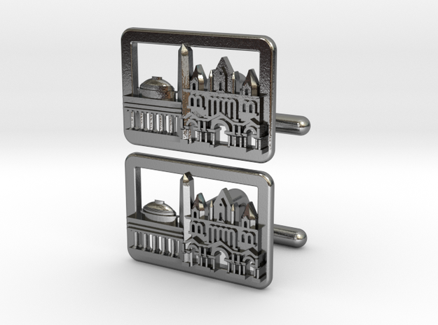 Boston Cityscape Skyline cufflinks in Polished Silver