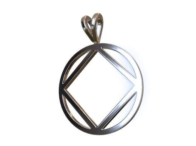 Narcotics Anonymous Pendant in Polished Silver