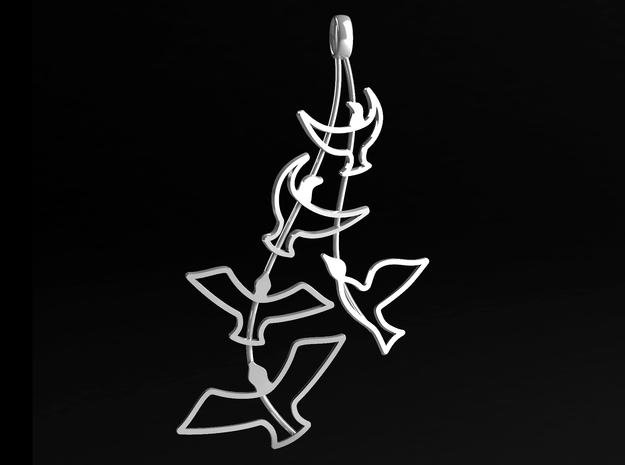 Birds Silhouette Pendant in Polished Silver