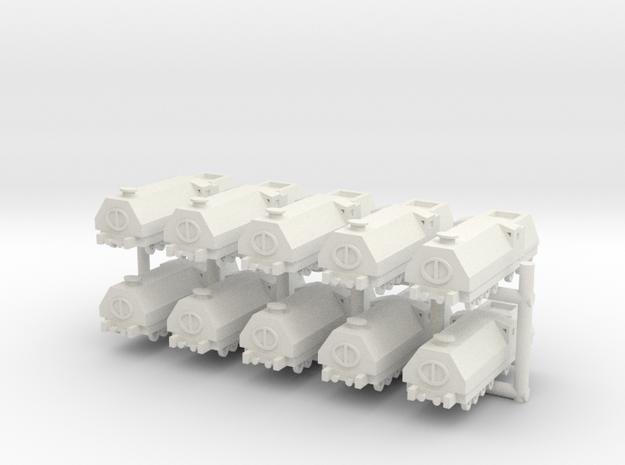 1/285 Armored Train x10 in White Natural Versatile Plastic