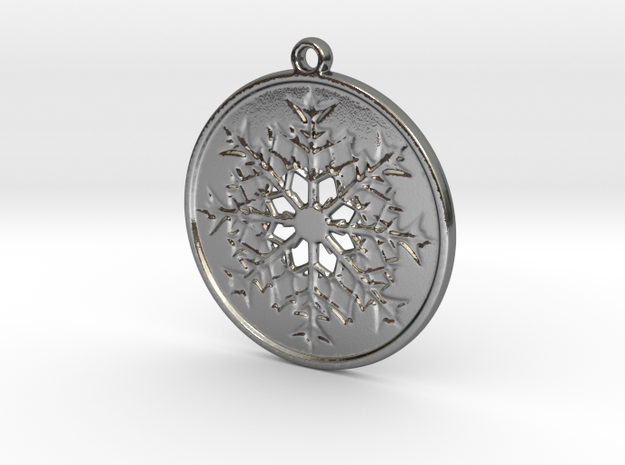 Snowflake pendant in Polished Silver