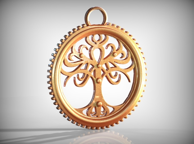 Tree Pendant in Natural Brass