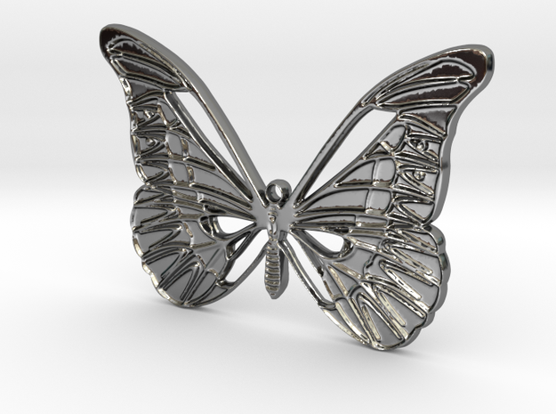 Tropical butterfly in Fine Detail Polished Silver