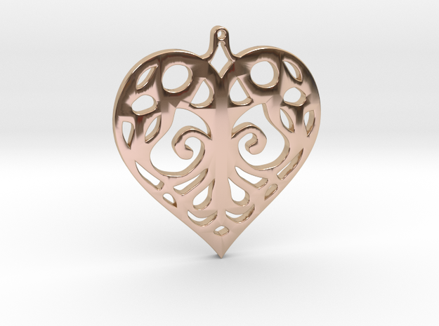 Heart Pendant Tiffanys Enchant Style in 14k Rose Gold