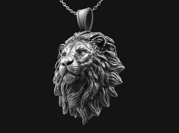 Lion Pendant Mouth Close No.1 in Antique Silver