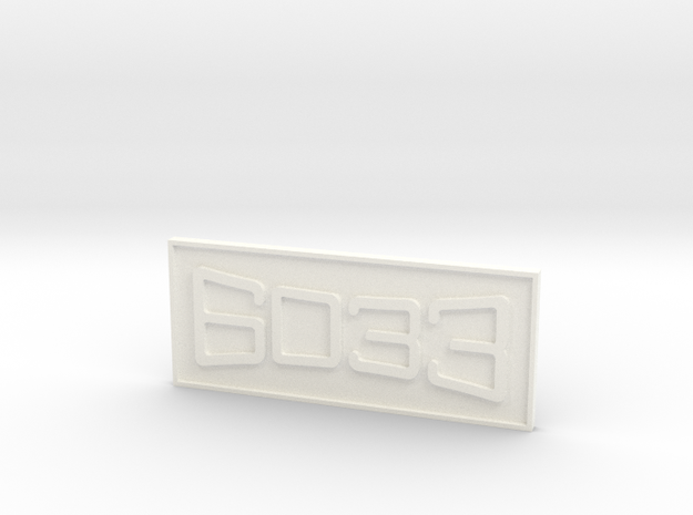"""CNO&TP As-11 #6033 3/4"""" Scale Number Plate in White Processed Versatile Plastic"""