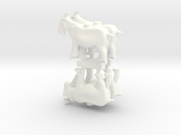 4 x Goats in White Processed Versatile Plastic
