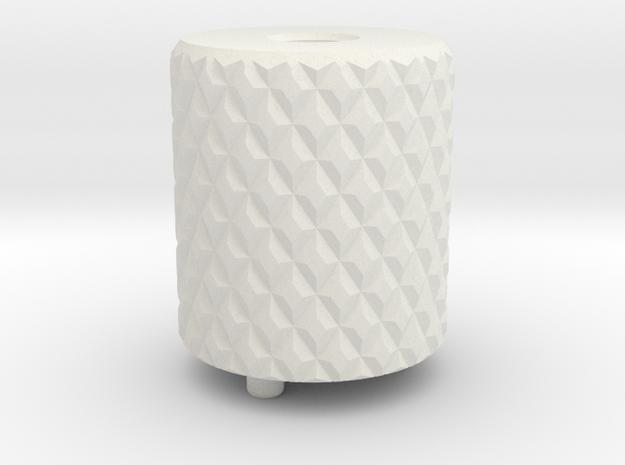 XL Knurl Back Cap Emek Etha2 Mg100 in White Natural Versatile Plastic