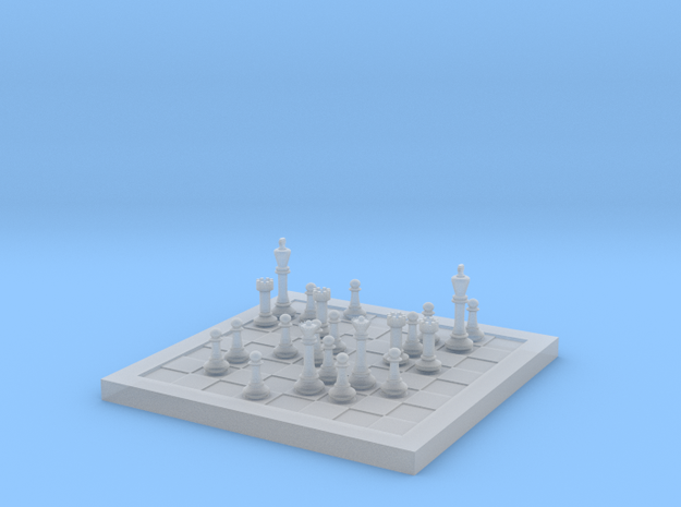 1/18 Scale Chess Board Mid-game (v03) in Smooth Fine Detail Plastic