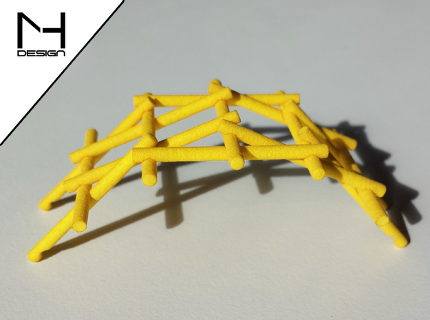 Leonardo Da Vinci's self supporting bridge(Medium) in Yellow Processed Versatile Plastic