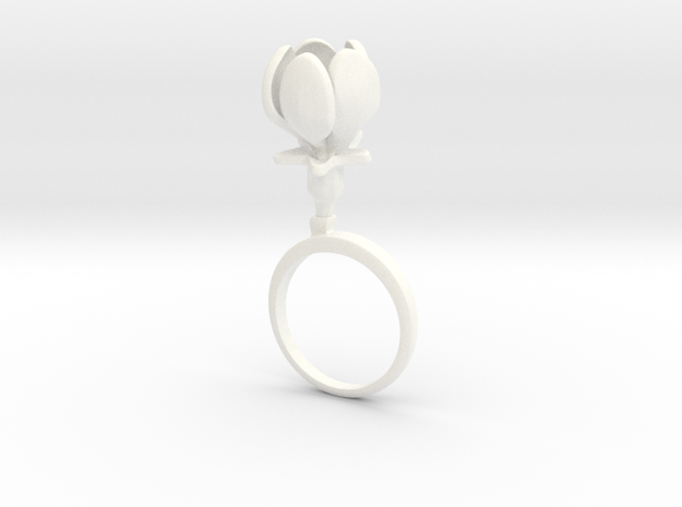 Apple ring with one large closed flower in White Processed Versatile Plastic: 7.25 / 54.625