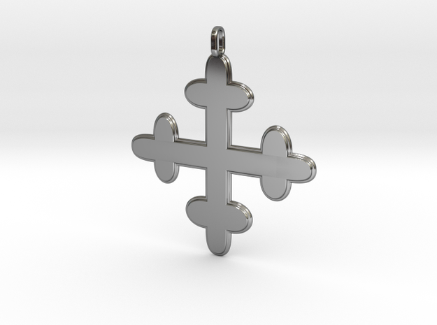 croix des templiers - Templar cross in Fine Detail Polished Silver