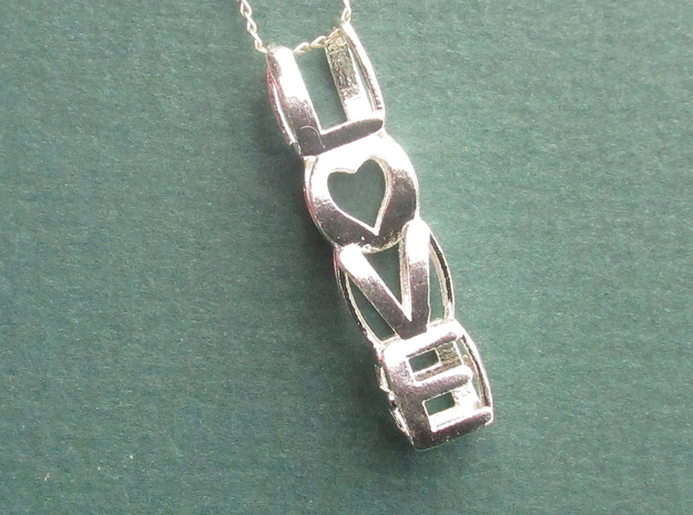 LOVE - Pendant in Cast Metals in Natural Silver