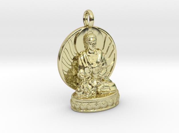 Medicine Buddha Pendant in 18k Gold Plated Brass