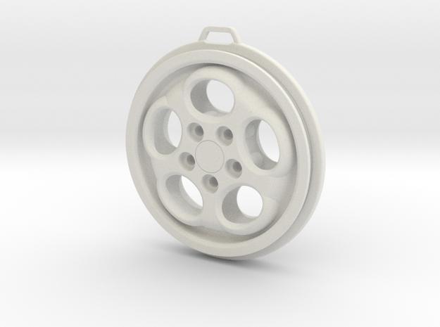 Porsche Phone Dial Wheel Keychain in White Natural Versatile Plastic