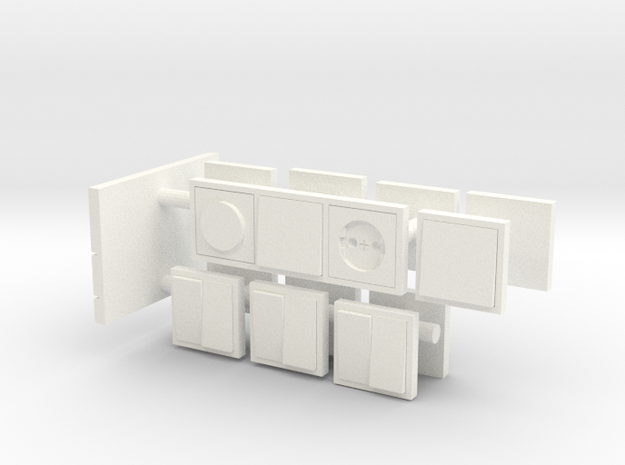 European light switches and plugpoints in 1:12 in White Processed Versatile Plastic