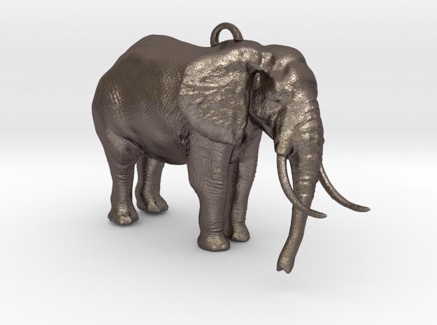 Elephant Keychain in Polished Bronzed-Silver Steel