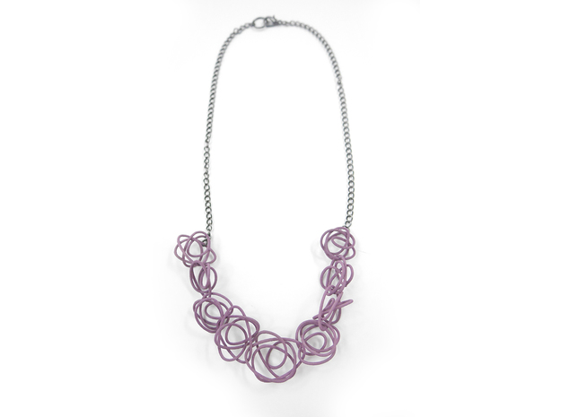 Sprouted Spirals Necklace (Chain) 3d printed Custom Dyed Color (Wisteria)
