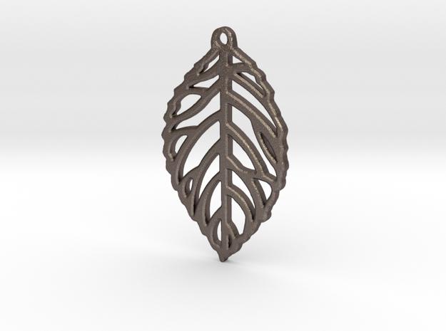 Leaf Pendant / Earring in Polished Bronzed Silver Steel