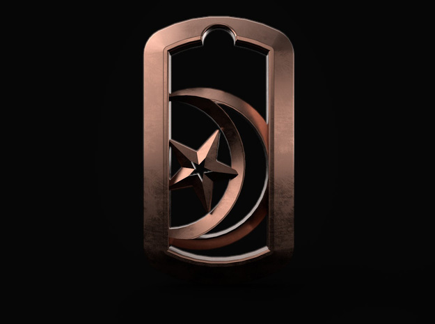 Crescent Star in DogTag in 14k Rose Gold Plated Brass: d4
