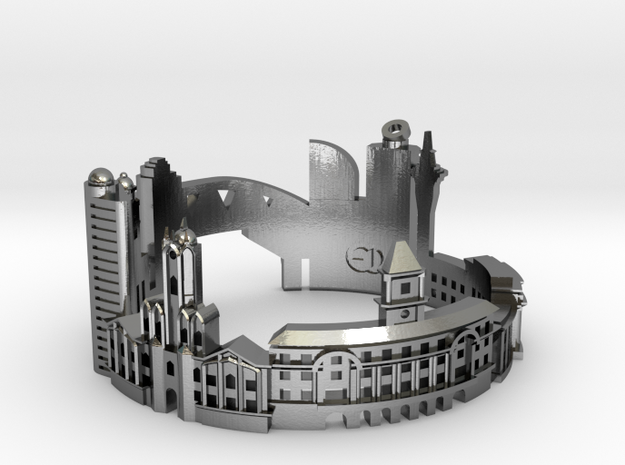 Auckland- Skyline Cityscape Ring in Polished Silver: 8 / 56.75